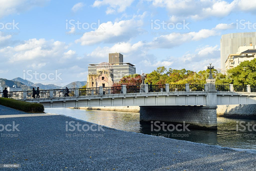 Ruins of The Dome, Hiroshima, with the new city surrounding stock photo