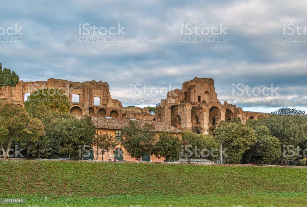 Ruins of the Domus Augustana, Rome stock photo