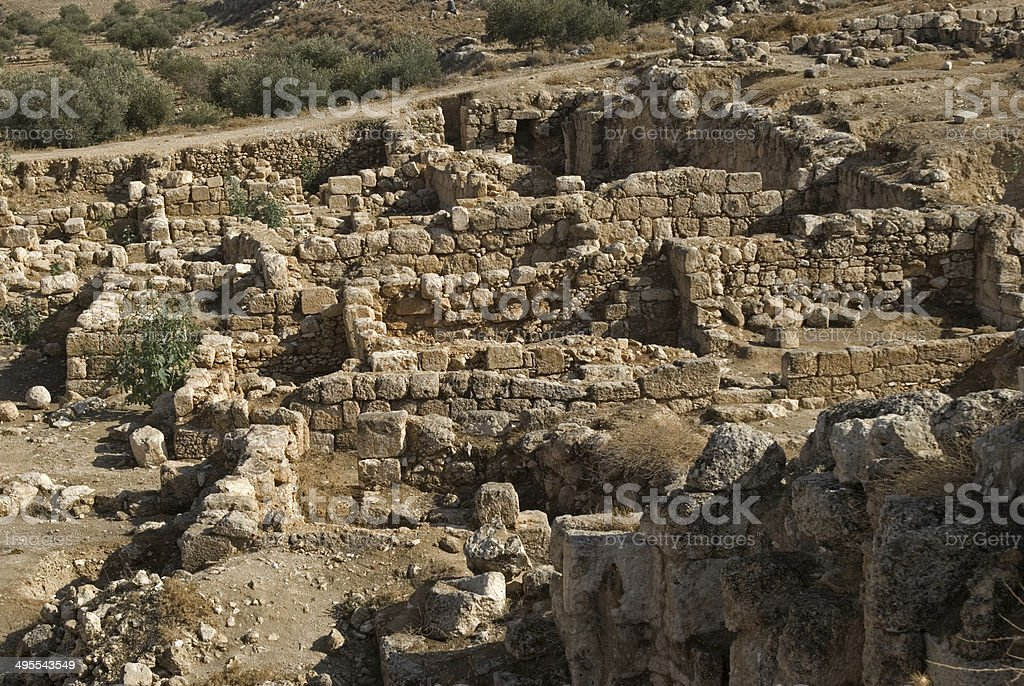 Ruins of the fortress of Herod, the Great, Herodium, Palestine stock photo