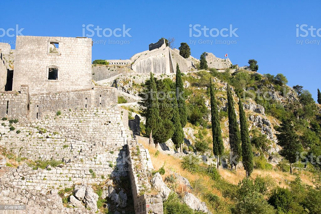 Ruins of the fortress of St John over Kotor, Montenegro stock photo