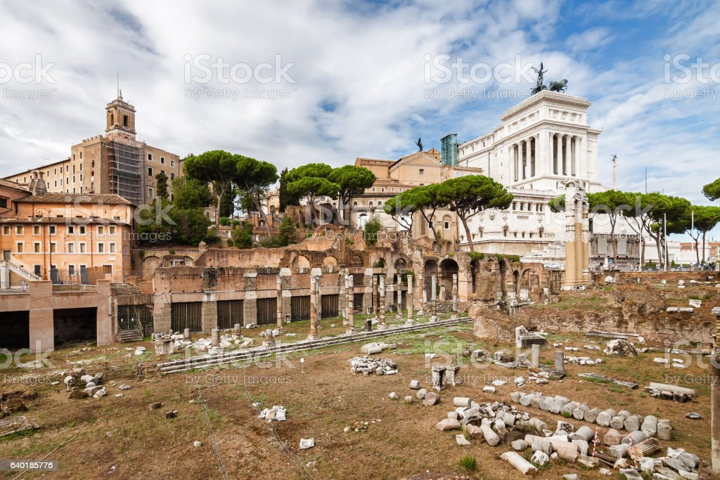 Ruins of the Forum in Rome, Lazio region, Italy. stock photo