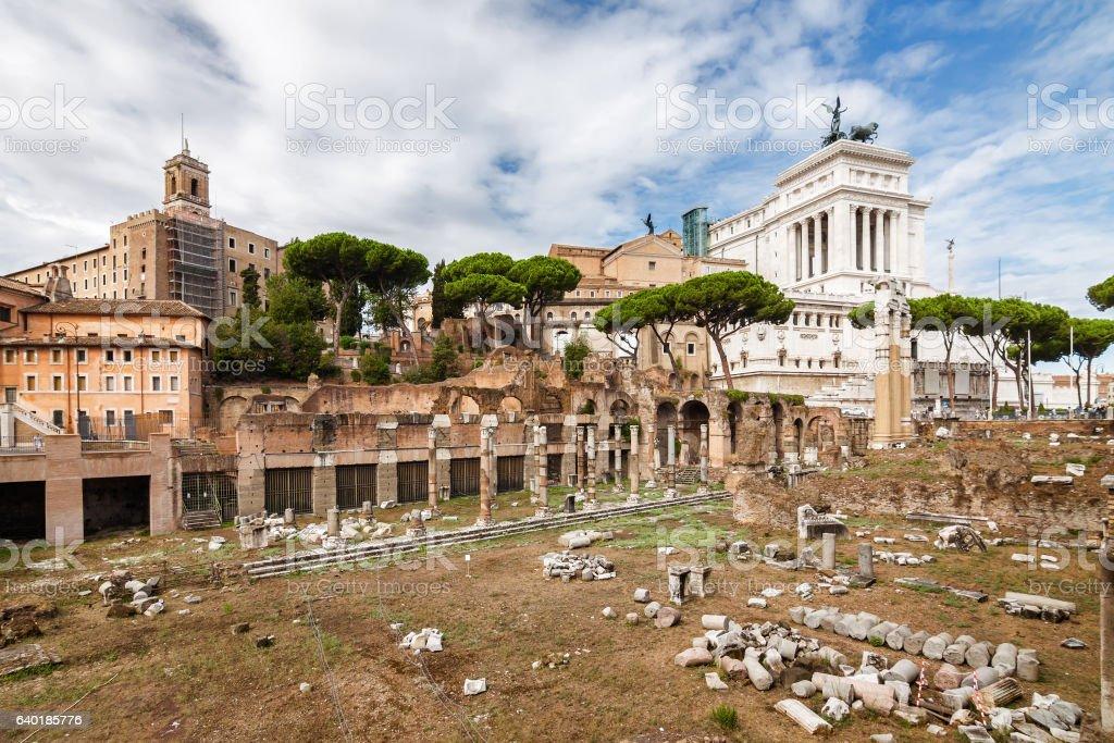 Ruins of the Forum in Rome, Lazio region, Italy. stock photo
