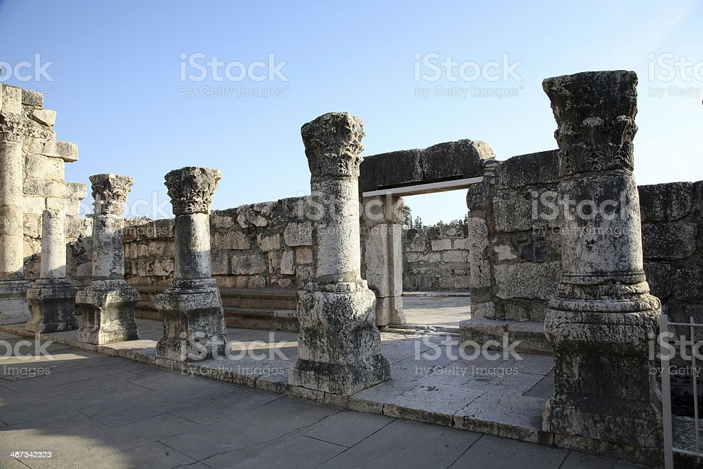 Ruins of the great synagogue of Capernaum, Israel royalty-free stock photo