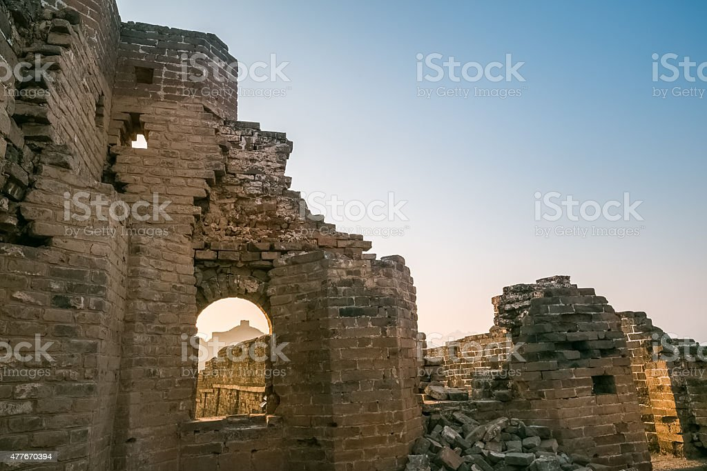 ruins of the great wall at dusk stock photo