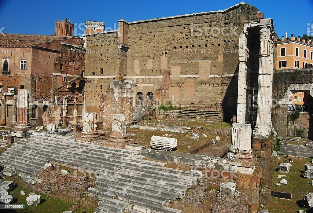 Ruins of the Imperial Forums in Rome. stock photo