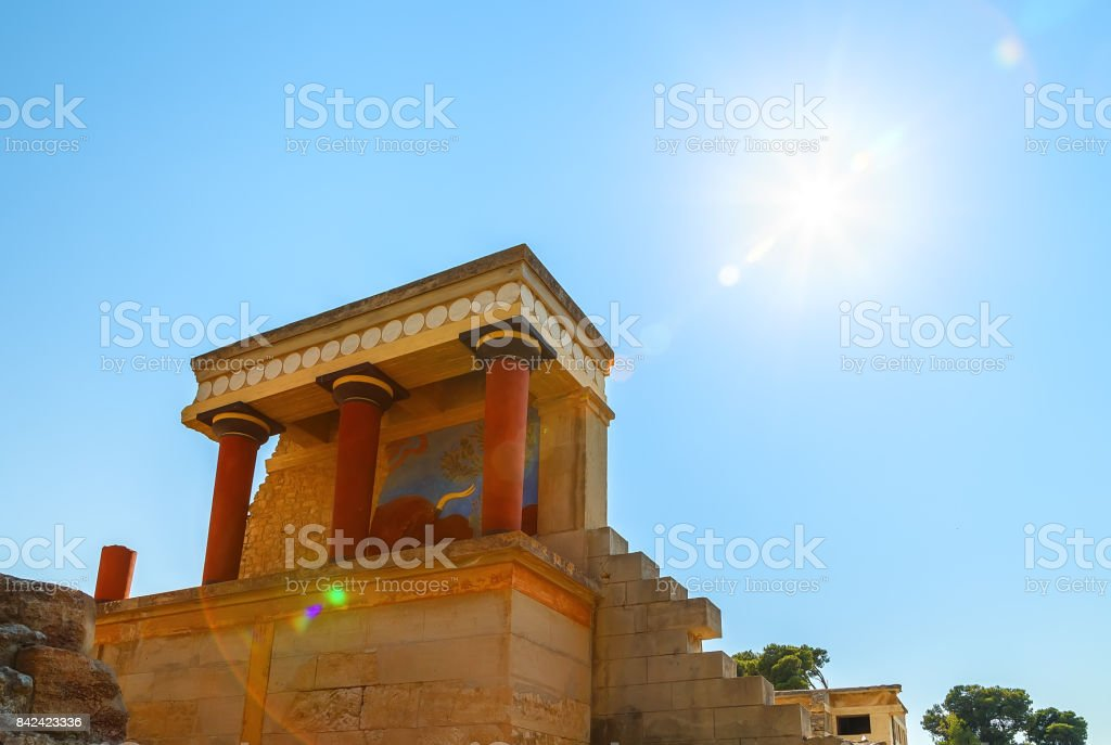 Ruins of the Knossos Palace at Crete, Greece stock photo