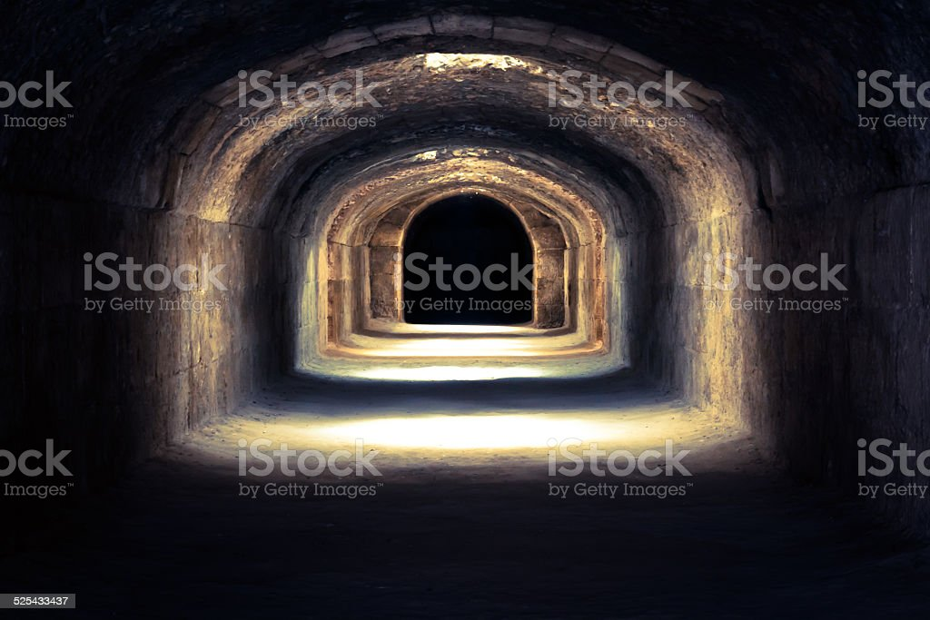 Ruins (dungeons) of the largest colosseum in in North Africa stock photo