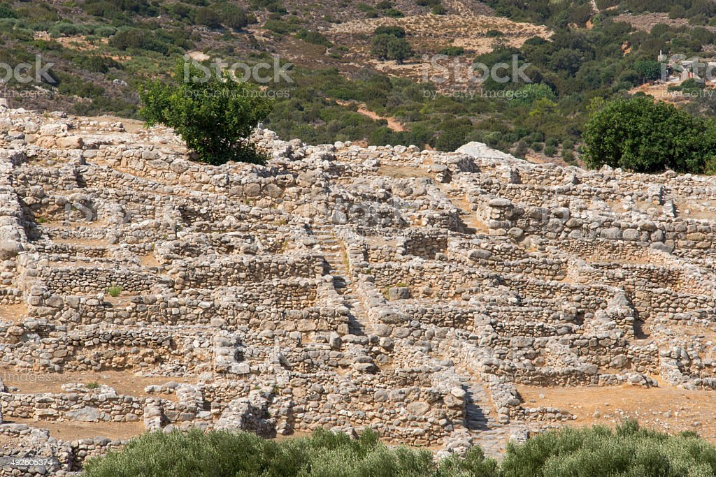 Ruins of the Minoan city of Gournia stock photo