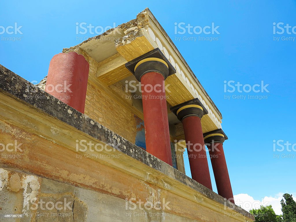 Ruins of the Minoan Palace Knossos in Heraklion, Greece stock photo