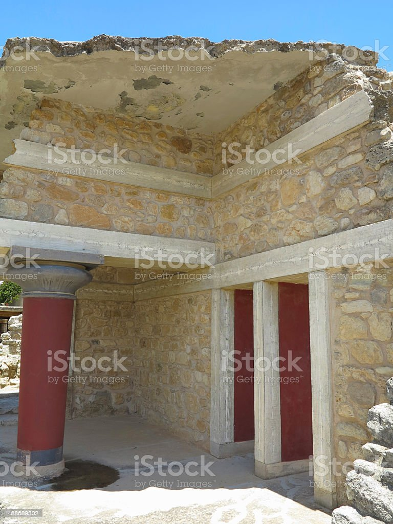 Ruins of the Minoan Palace Knossos in Heraklion stock photo