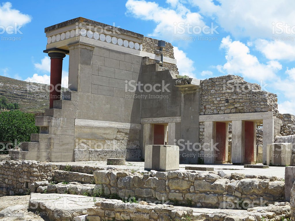 Ruins of the Minoan Palace Knossos in Heraklion,Greece stock photo