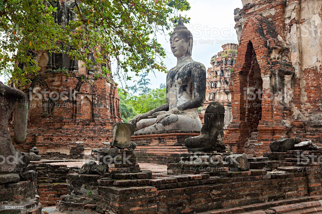 Ruins of the old city Ayutthaya, Thailand stock photo