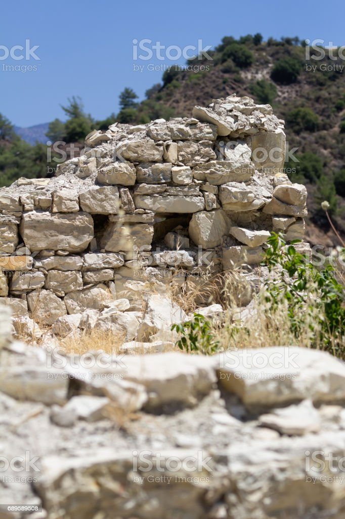 Ruins of the old Greek houses, Paphos District, Cyprus, Shallow depth of field. stock photo