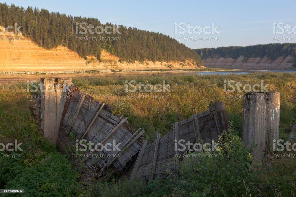 Ruins of the Opokskogo hydroelectric complex near the village of Porog, Velikoustyugsky district, Vologda region stock photo