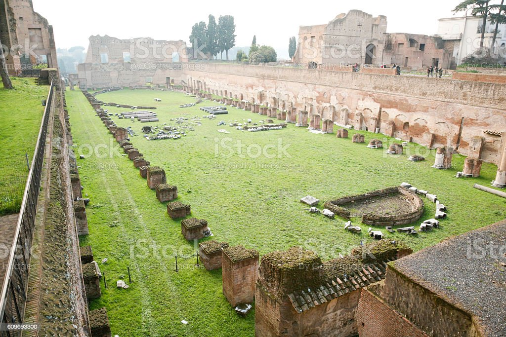 ruins of the Palatine stadium in Rome stock photo