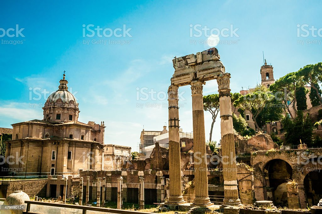Ruins of the Roman Forum stock photo