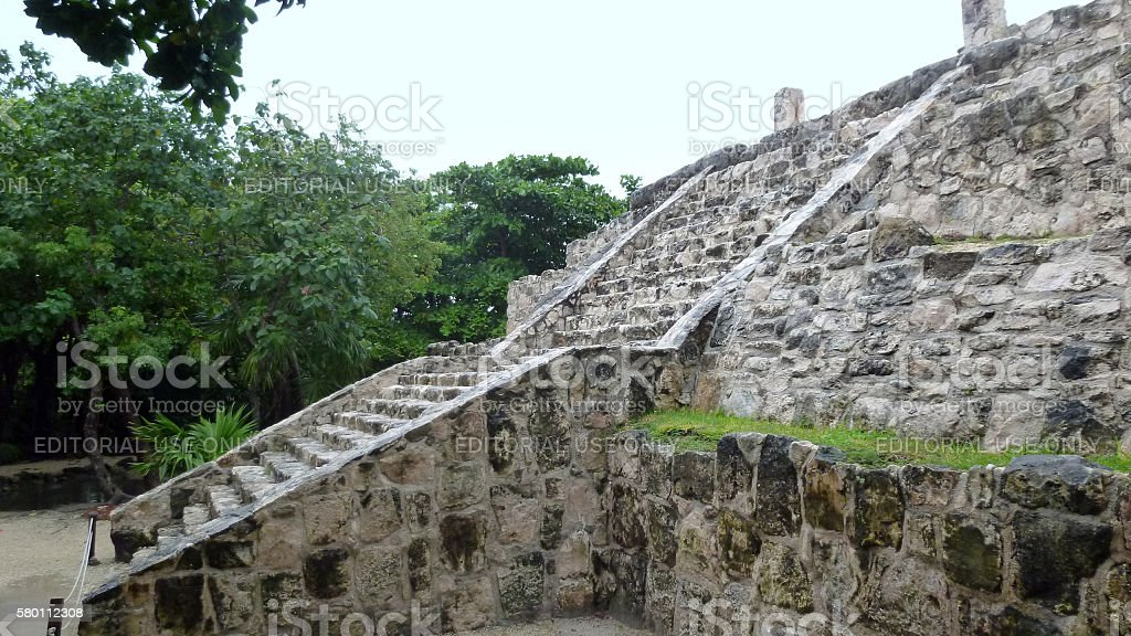 Ruins of the San Miguelito archaeological site in Cancun stock photo
