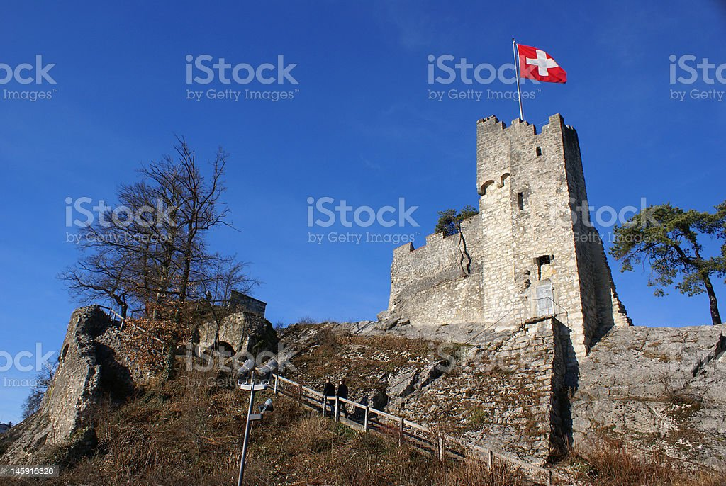 Ruins of the signal tower in Switzerland stock photo