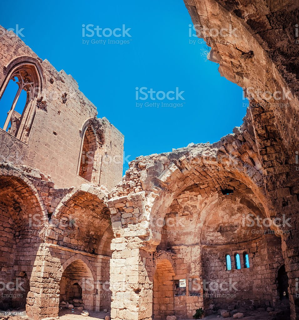Ruins of the St. George of the Greeks Church. Famagusta stock photo