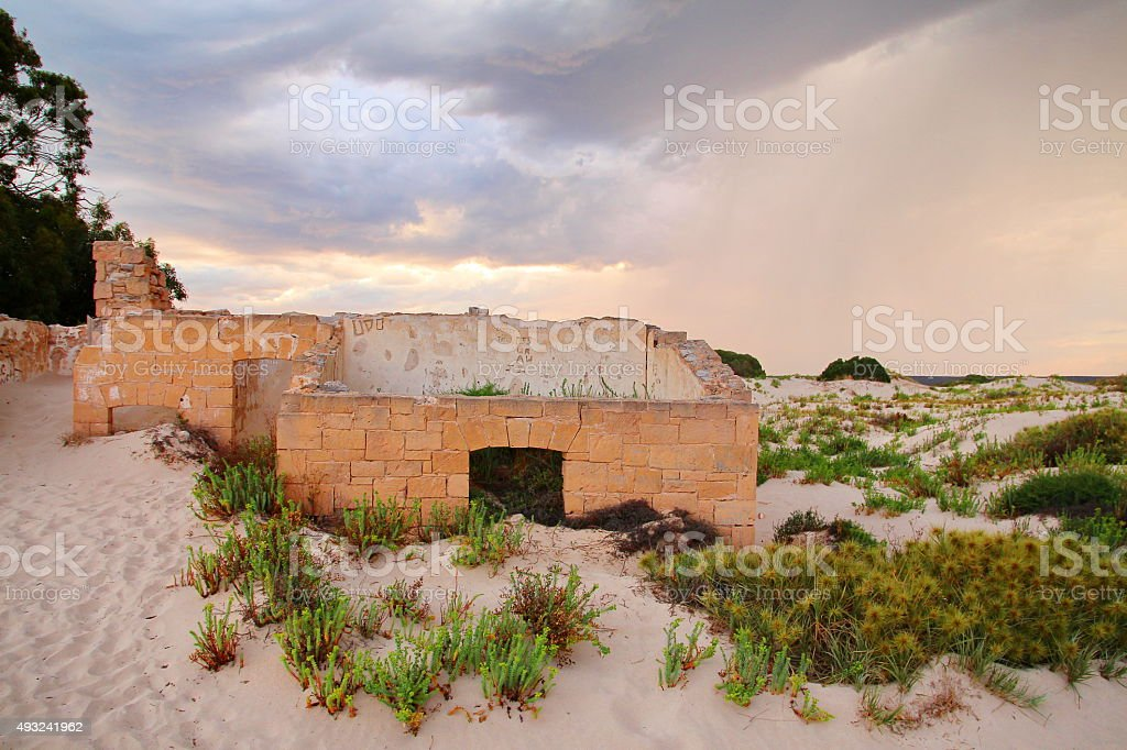 Ruins of the telegraph station stock photo