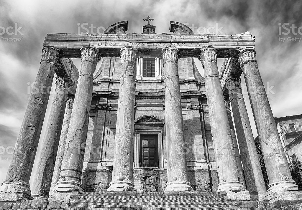 Ruins of the Temple of Antoninus and Faustina in Rome stock photo