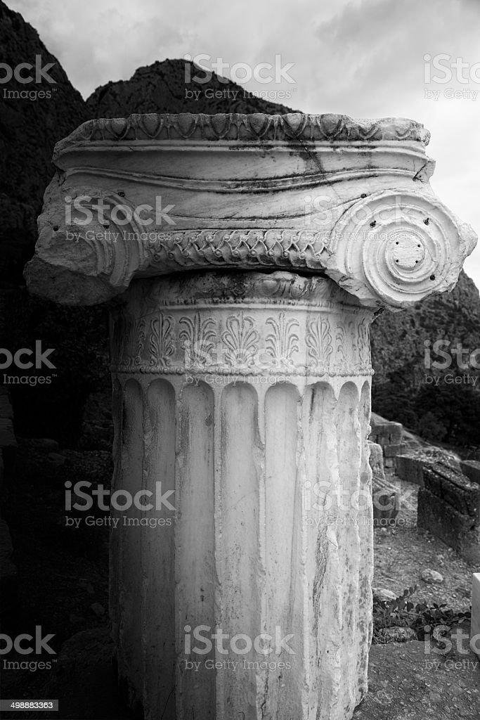Ruins of the temple of Apollo in Delphi, Greece stock photo