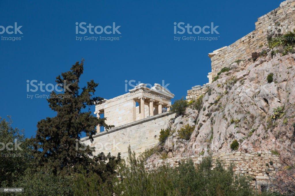 Ruins of the Temple Parthenon at the Acropolis. stock photo
