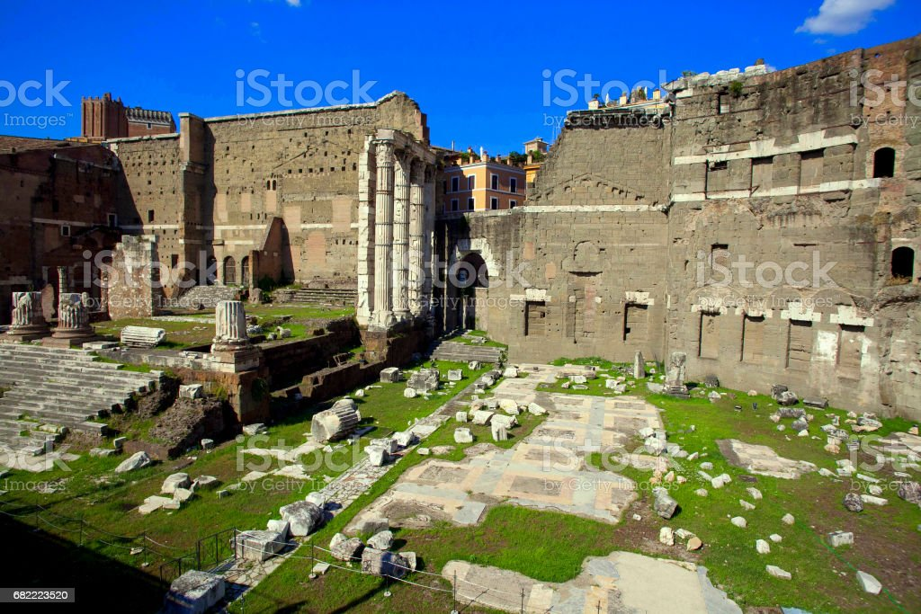 Ruins of the Traian Roman Forum in Rome stock photo