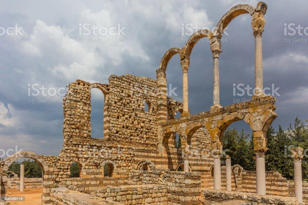 Ruins of the Umayyad Aanjar Anjar Beeka Lebanon stock photo