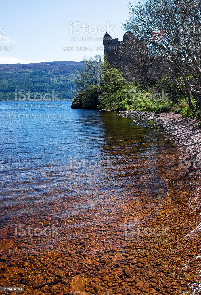 Ruins of the Urquhart Castle in Loch Ness in Scotland stock photo