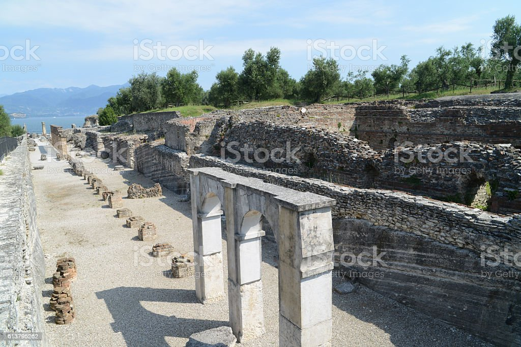 Ruins of the villa of Catullus stock photo