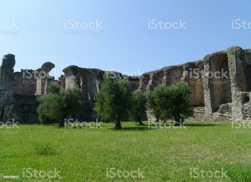 Ruins of the villa of catullus stock photo