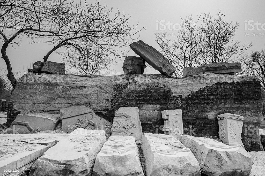Ruins of the Western Mansions in the Old Summer Palace stock photo