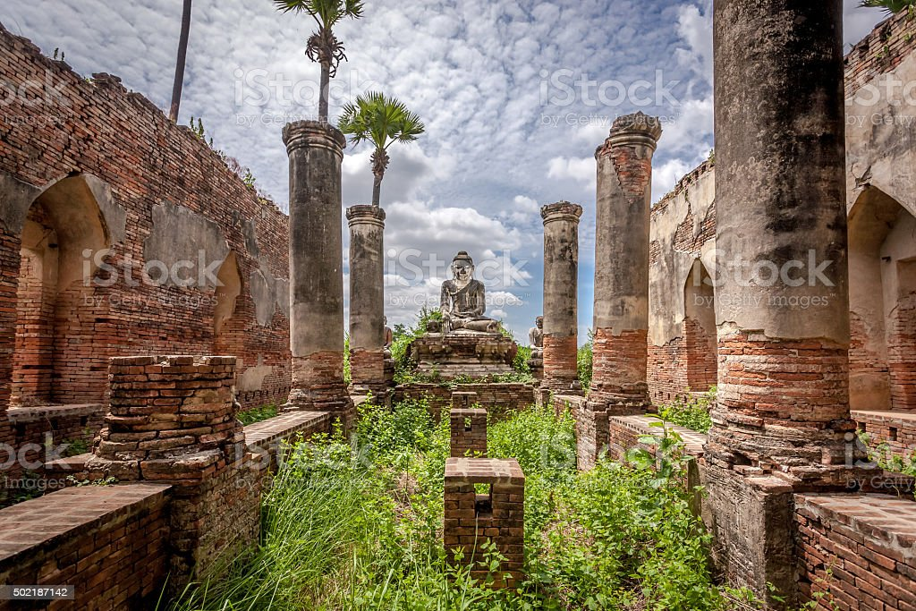 Ruins of the Yedanasini Pagoda near Mandalay stock photo