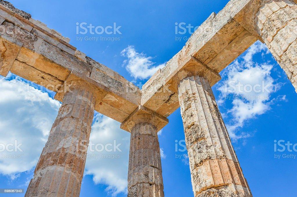 Ruins of the Zeus Temple in Ancient Nemea - Greece stock photo