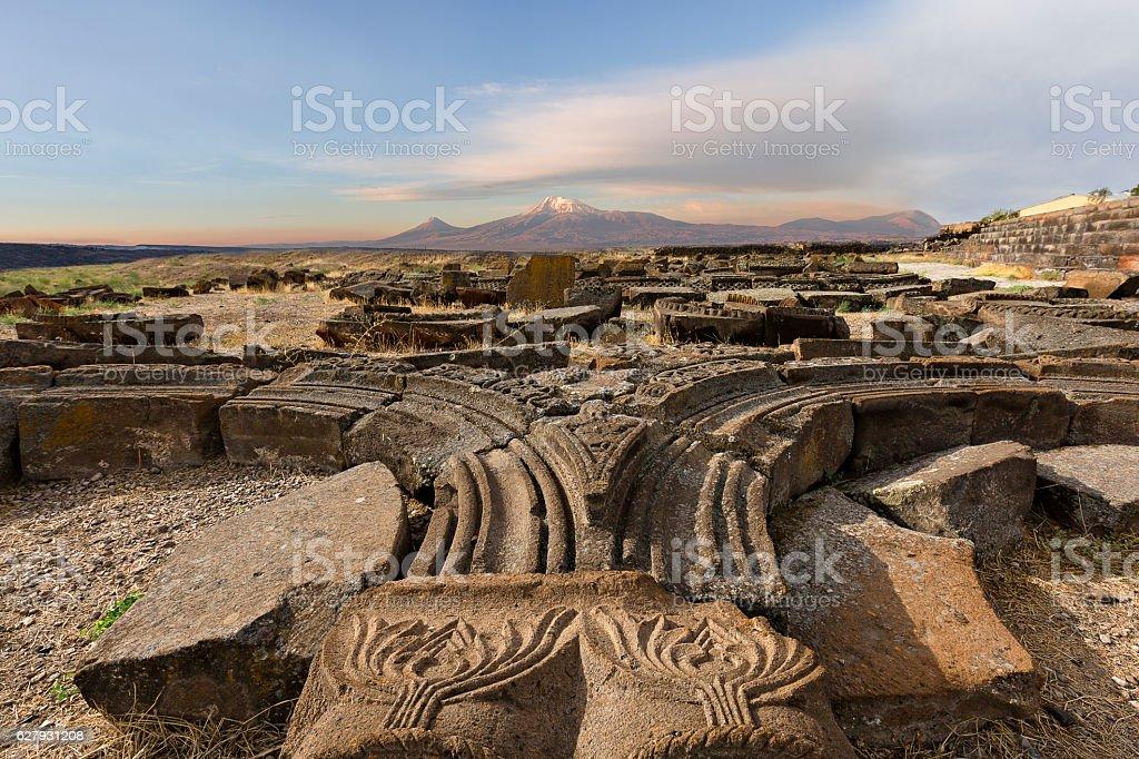 Ruins of the Zvartnots temple in Yerevan, Armenia. stock photo