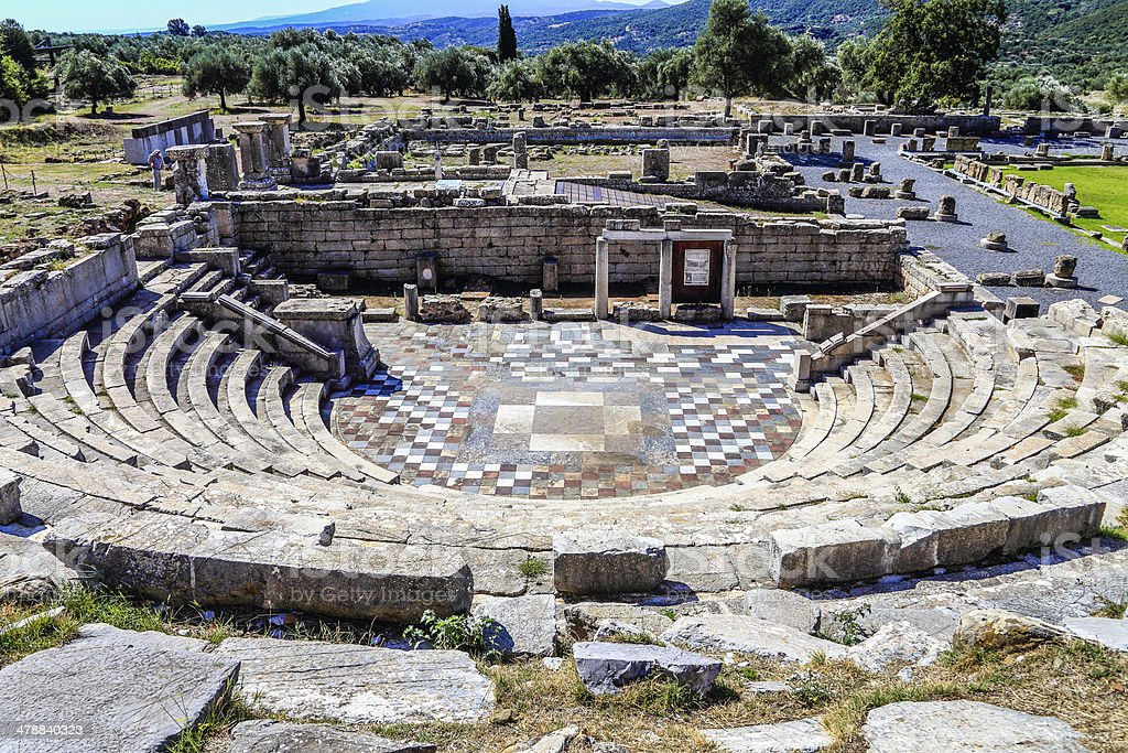 ruins of theater in ancient city of Messina, Peloponnes, Greece stock photo