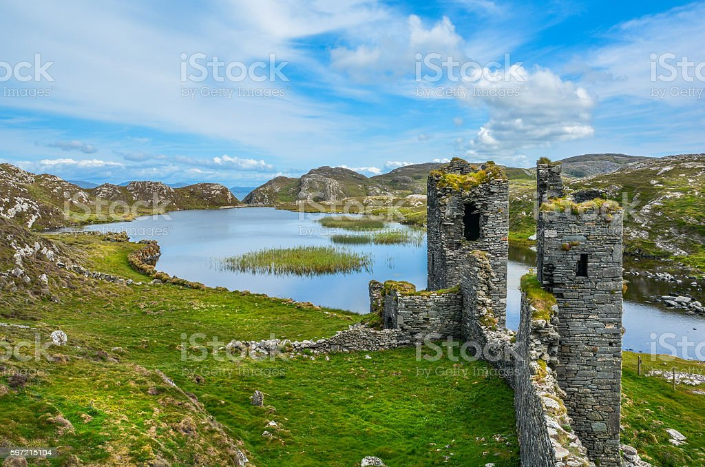 Ruins of Three Castle Head, County Cork, Ireland stock photo