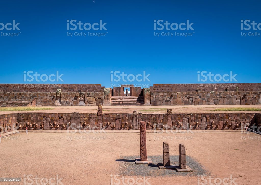 Ruins of Tiwanaku archaeological site - La Paz, Bolivia stock photo