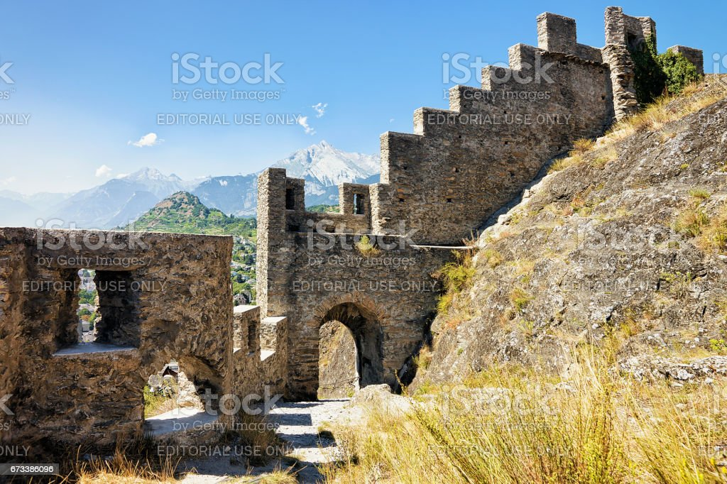 Ruins of Tourbillon castle at Sion capital Valais Switzerland stock photo