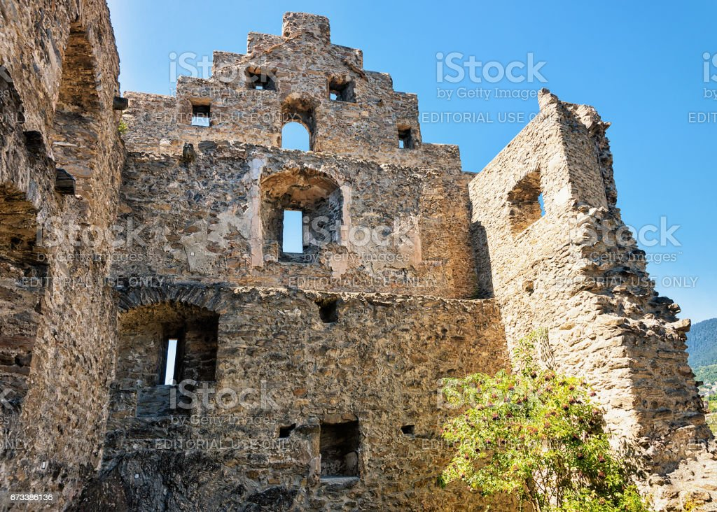 Ruins of Tourbillon castle in Sion capital Valais Switzerland stock photo
