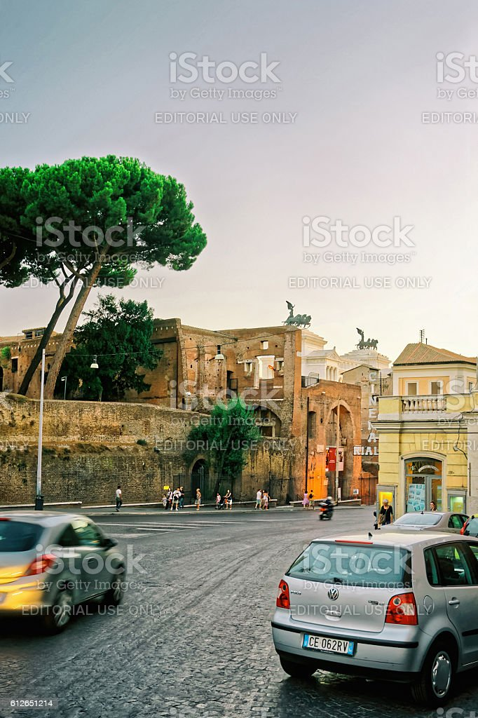 Ruins of Trajan Forum in the Old City in Rome stock photo