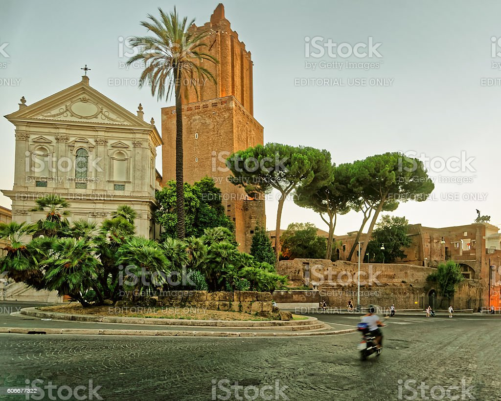 Ruins of Trajan Forum in the Old City Rome Italy stock photo