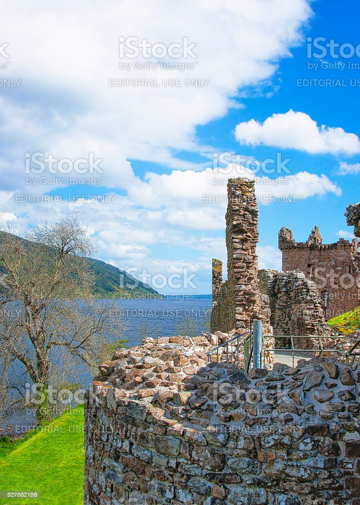 Ruins of Urquhart Castle in Loch Ness in Scotland stock photo