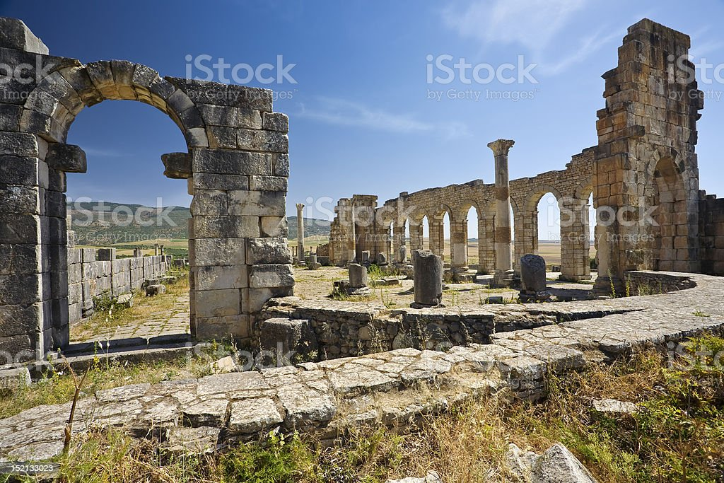 Ruins of Volubilis - the Basilica stock photo