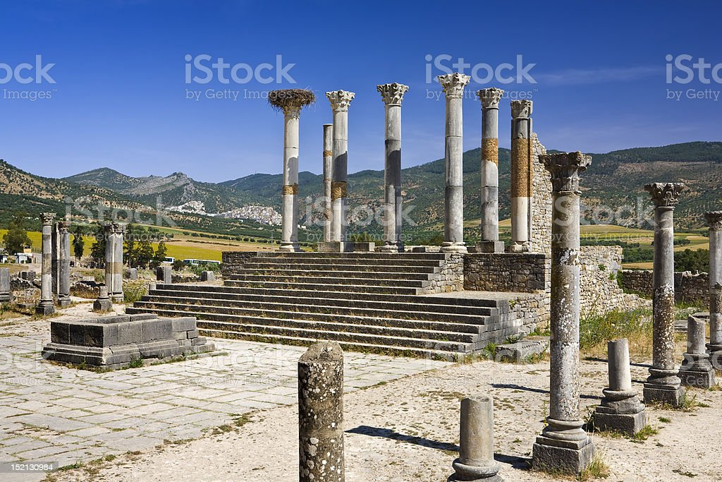 Ruins of Volubilis - the capitol stock photo