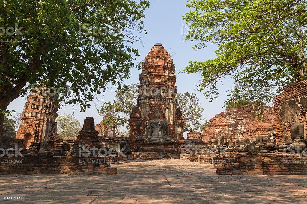 Ruins of Wat Mahathat, Ayutthaya- Thailand stock photo