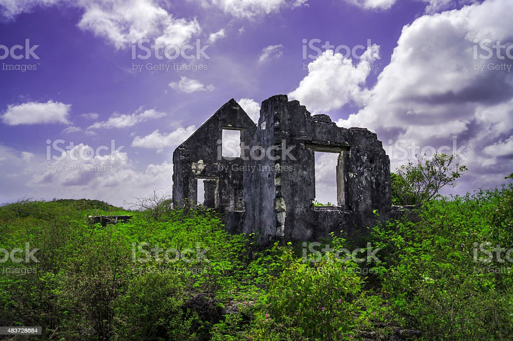 ruins of Watlings castle distant stock photo