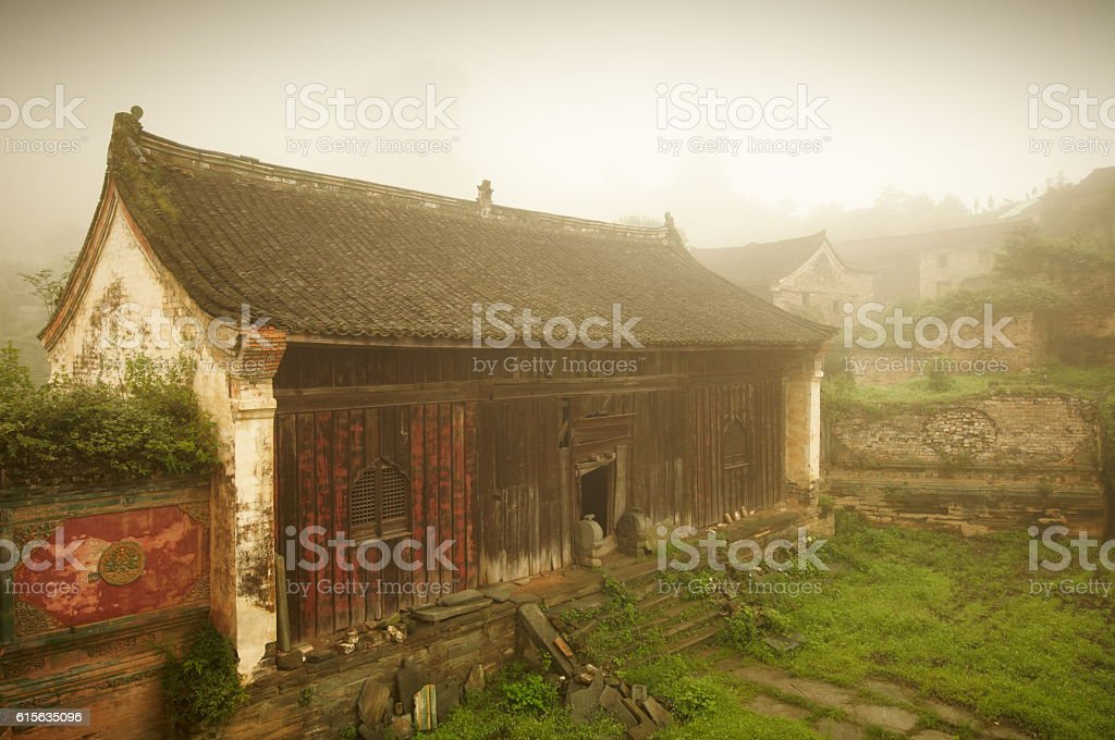 Ruins of Wu Long Temple in Wudangshan stock photo