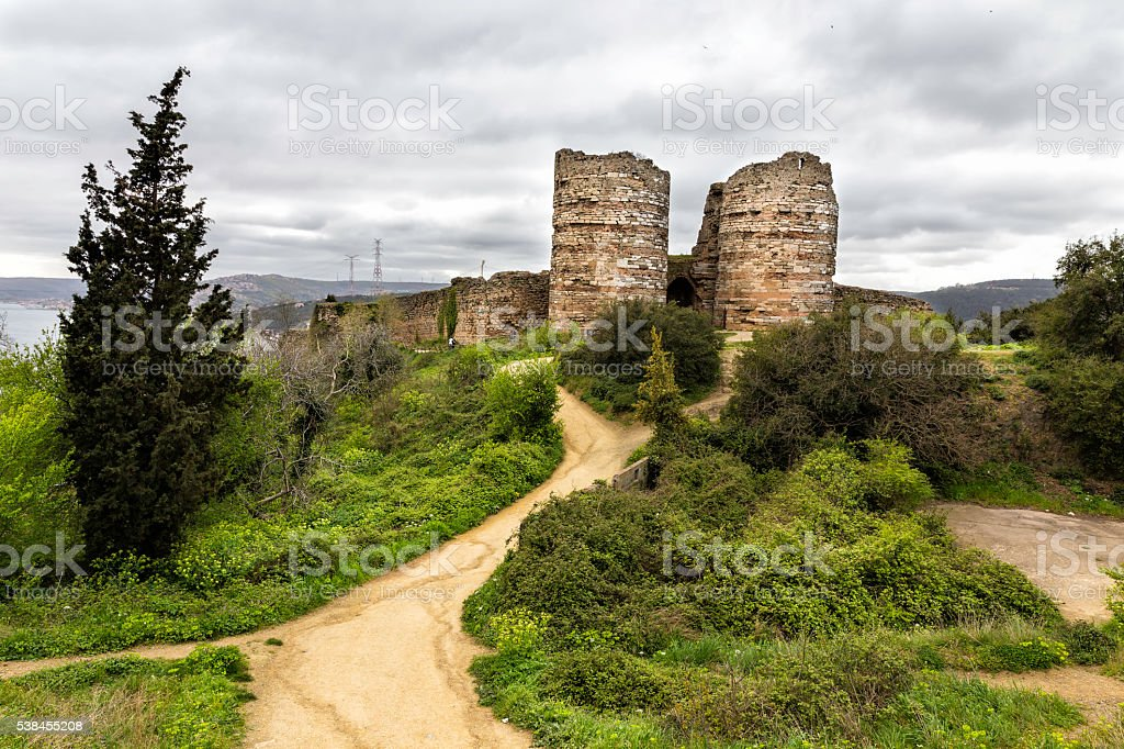 Ruins of Yoros Castle is a Byzantine ruined castle stock photo